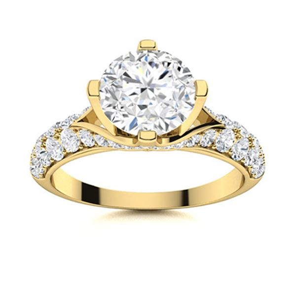 Natural 1.84 CTW Diamond Solitaire Ring 18K Yellow Gold