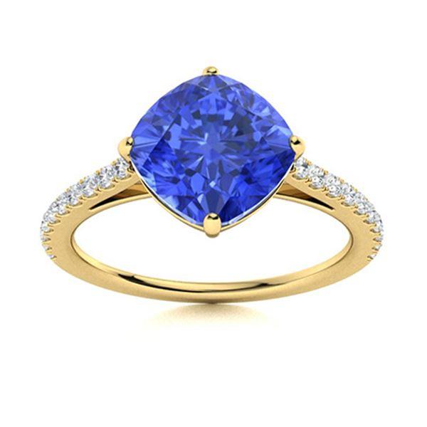 Natural 3.16 CTW Ceylon Sapphire & Diamond Engagement Ring 14K Yellow Gold