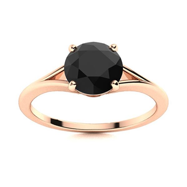 Natural 1.02 CTW Black Diamond Solitaire Ring 18K Rose Gold