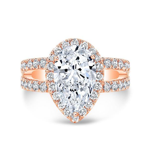 Natural 4.42 CTW Pear Cut Split Shank Diamond Engagement Ring 18KT Rose Gold