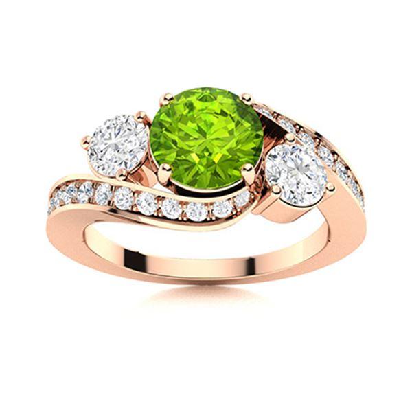 Natural 1.42 CTW Peridot & Diamond Engagement Ring 18K Rose Gold