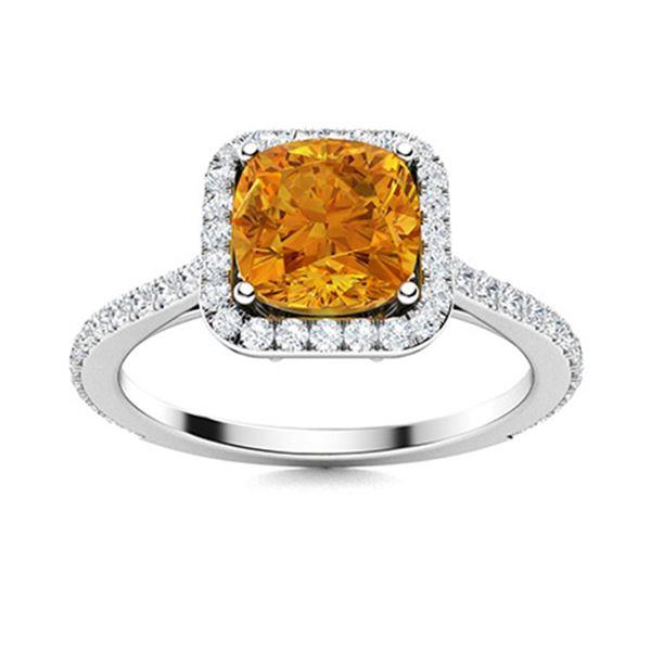 Natural 1.28 CTW Citrine & Diamond Engagement Ring 18K White Gold