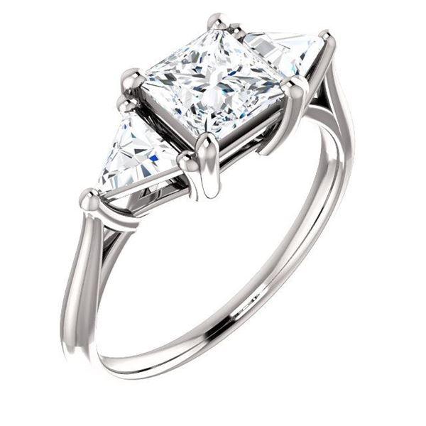 Natural 2.12 CTW Princess & Trillion Cut 3-Stone Diamond Ring 14KT White Gold