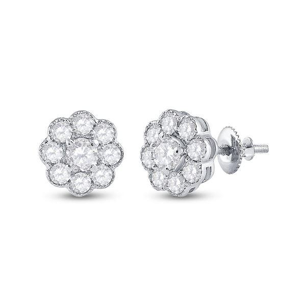 14kt White Gold Womens Round Diamond Cluster Earrings 3/4 Cttw