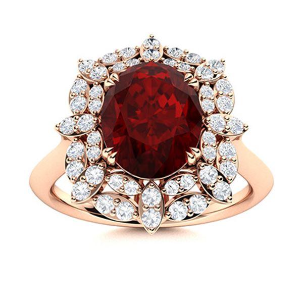 Natural 2.26 CTW Garnet & Diamond Engagement Ring 18K Rose Gold