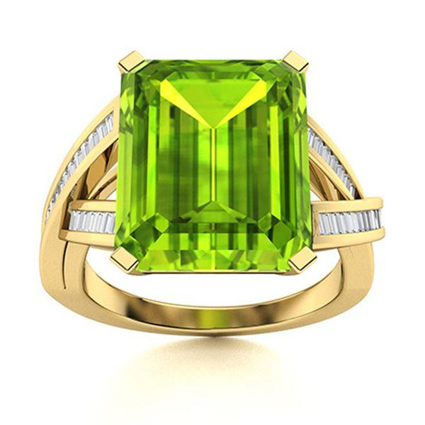 Natural 5.97 CTW Peridot & Diamond Engagement Ring 18K Yellow Gold