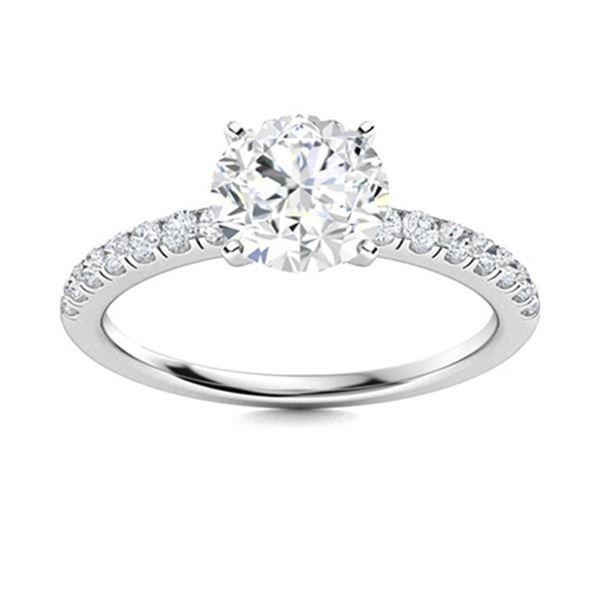 Natural 0.96 CTW Topaz & Diamond Engagement Ring 14K White Gold