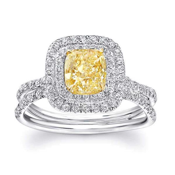 Natural 2.87 CTW Double Halo Canary Light Yellow Cushion Cut Diamond Ring 14KT Two-tone