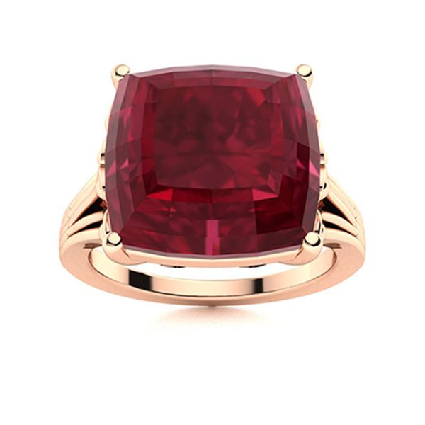 Natural 5.52 CTW Ruby Solitaire Ring 18K Rose Gold