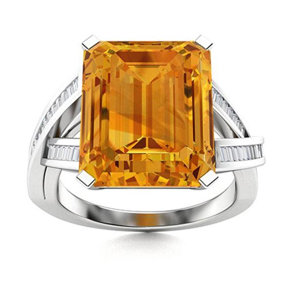 Natural 5.40 CTW Citrine & Diamond Engagement Ring 18K White Gold