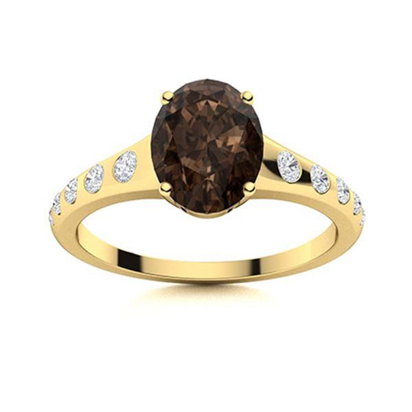 Natural 1.21 CTW Smoky Quartz & Diamond Engagement Ring 18K Yellow Gold