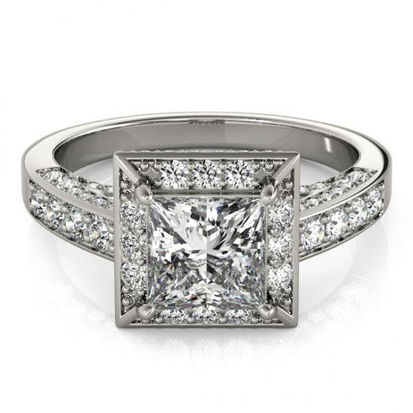 Natural 2.1 ctw Princess Diamond Halo Ring 14k White Gold
