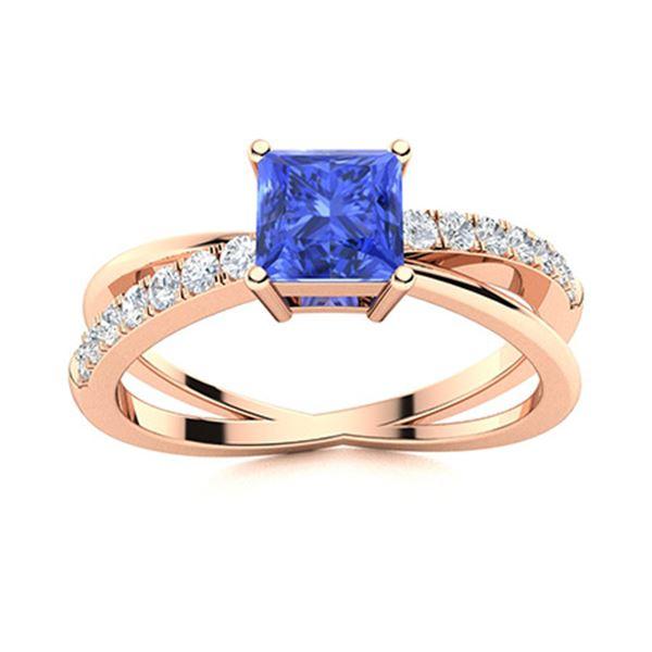 Natural 1.25 CTW Ceylon Sapphire & Diamond Engagement Ring 18K Rose Gold