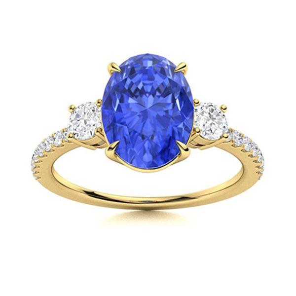 Natural 1.74 CTW Ceylon Sapphire & Diamond Engagement Ring 18K Yellow Gold