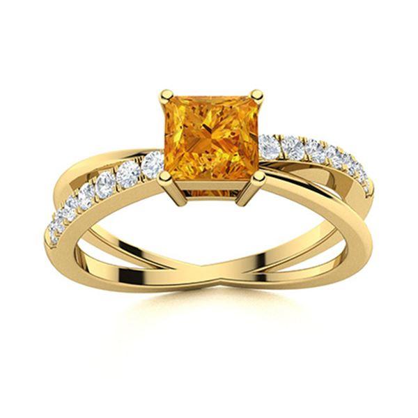 Natural 1.33 CTW Citrine & Diamond Engagement Ring 14K Yellow Gold