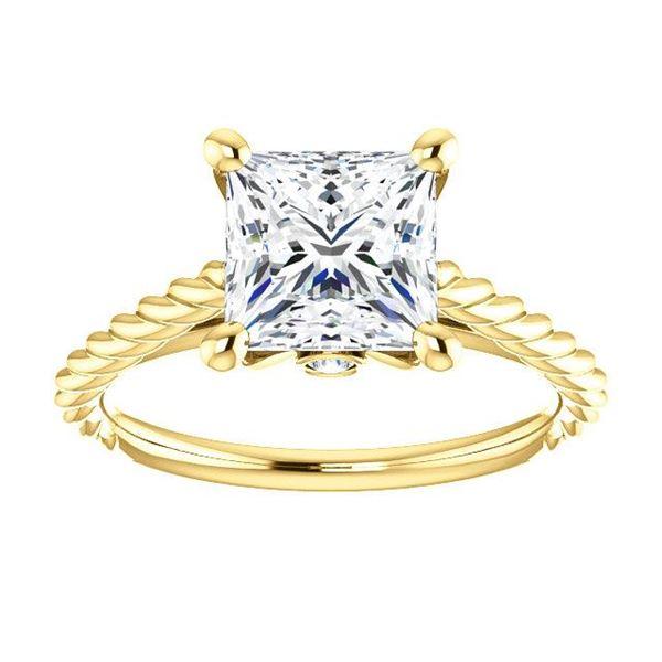 Natural 1.12 CTW Princess cut Rope Design Diamond Engagement Set 14KT Yellow Gold