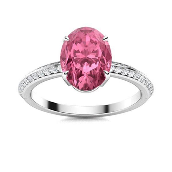 Natural 2.28 CTW Tourmaline & Diamond Engagement Ring 18K White Gold