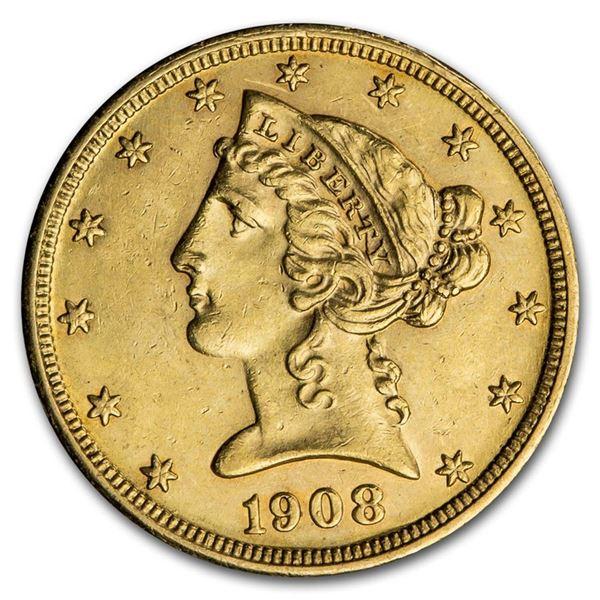 1908 $5 Liberty Gold Half Eagle AU