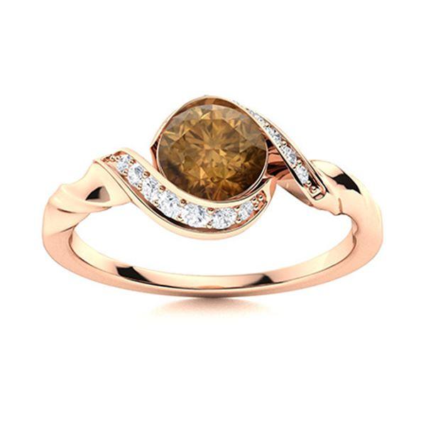 Natural 1.39 CTW Brown & White Diamond Engagement Ring 14K Rose Gold