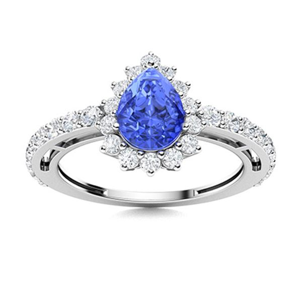 Natural 1.50 CTW Ceylon Sapphire & Diamond Engagement Ring 18K White Gold