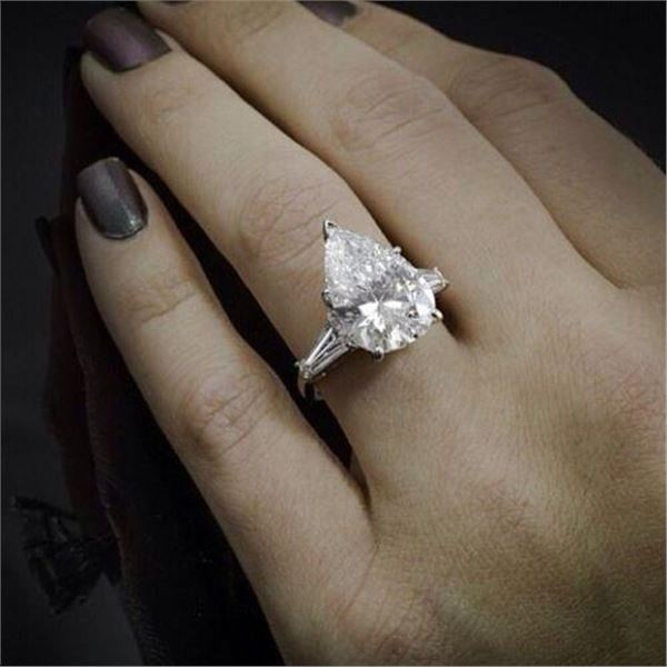 Natural 2.39 CTW Pear Cut & Baguette 3-Stone Diamond Engagement Ring 18KT White Gold