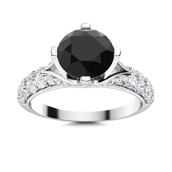Natural 2.09 CTW Black & White Diamond Engagement Ring 18K White Gold
