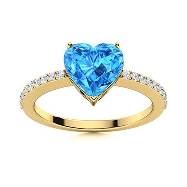 Natural 0.76 CTW Topaz & Diamond Engagement Ring 18K Yellow Gold