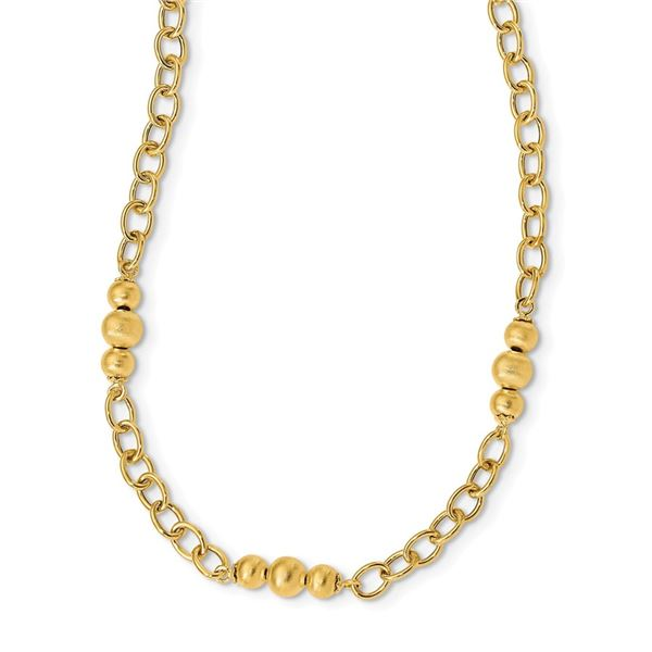 14k Yellow Gold Brushed & Polished Fancy Link Necklace - 17 in.