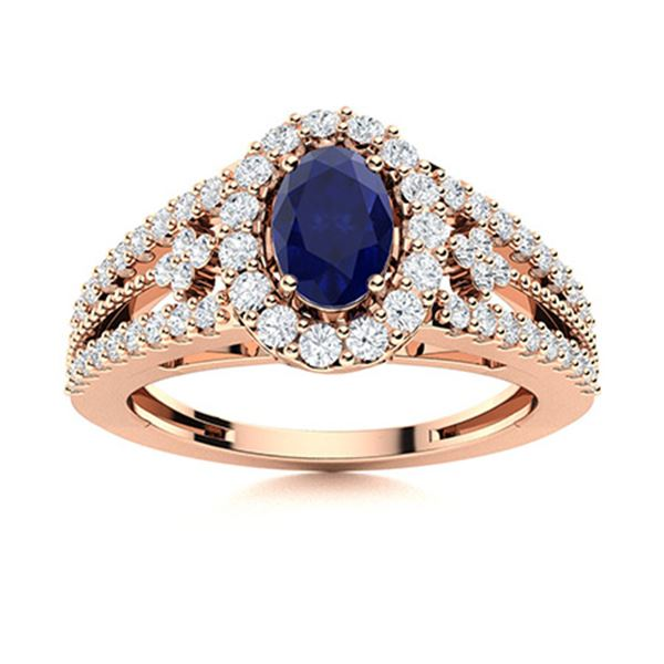 Natural 0.99 CTW Sapphire & Diamond Engagement Ring 14K Rose Gold