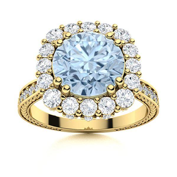 Natural 2.42 CTW Aquamarine & Diamond  Engagement Ring 14K Yellow Gold
