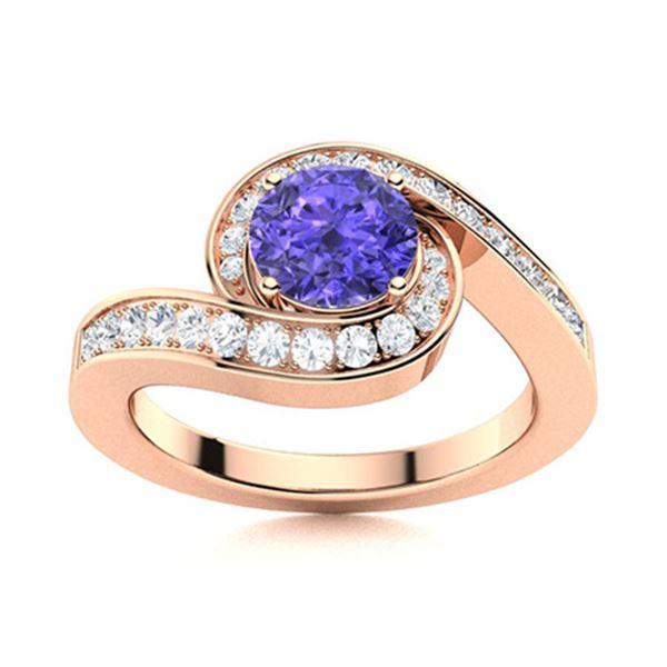 Natural 1.10 CTW Tanzanite & Diamond Engagement Ring 18K Rose Gold