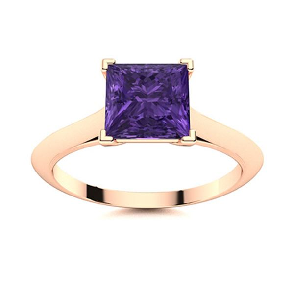Natural 0.87 CTW Amethyst Solitaire Ring 18K Rose Gold