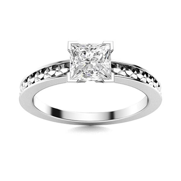 Natural 1.0 CTW Diamond Solitaire Ring 14K White Gold