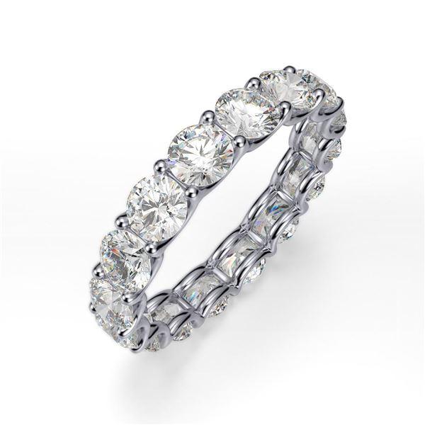 Natural 4.02 CTW U-Setting Round Brilliant Diamond Eternity Ring 14KT White Gold