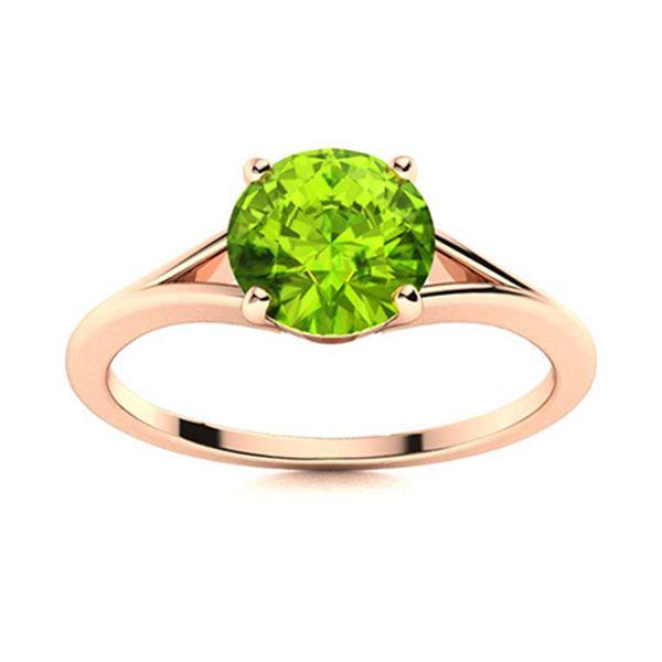 Natural 1.71 CTW Peridot Solitaire Ring 14K Rose Gold