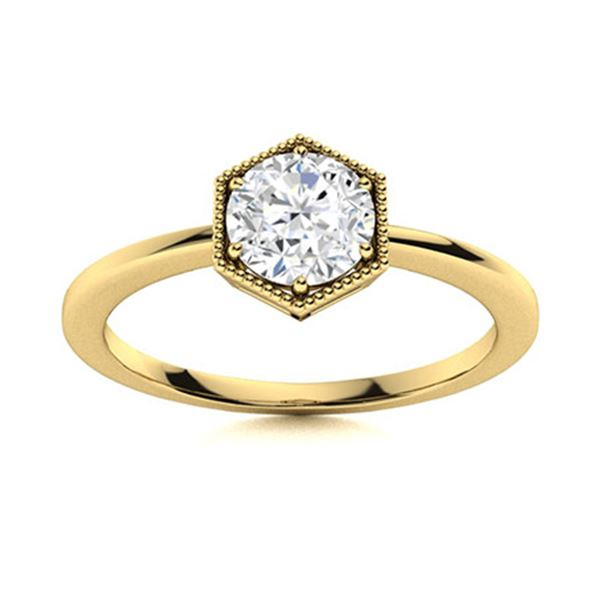 Natural 1.02 CTW Diamond Solitaire Ring 18K Yellow Gold