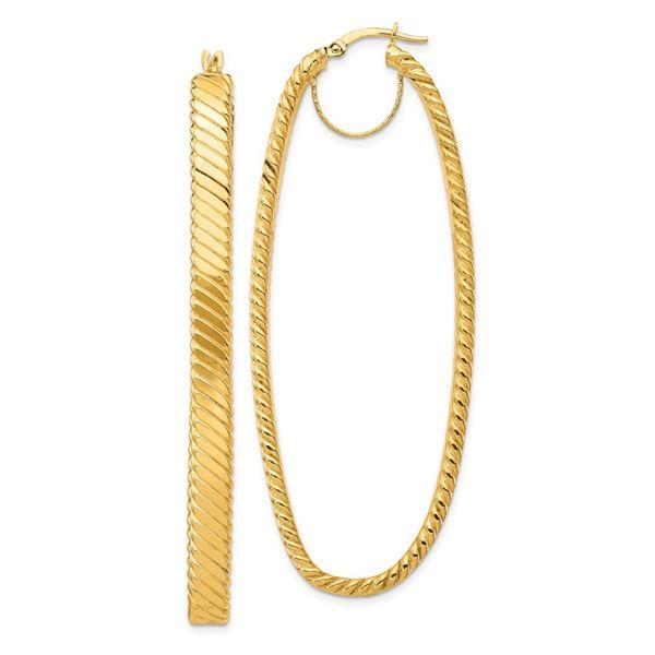 14k Yellow Gold Cascade Polished Oval Hoop Earrings - 2x26 mm