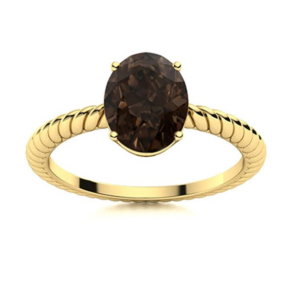 Natural 1.42 CTW Smoky Quartz Solitaire Ring 14K Yellow Gold