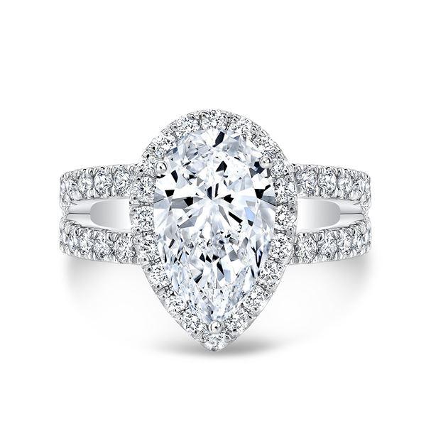 Natural 2.42 CTW Pear Cut Split Shank Diamond Engagement Ring 18KT White Gold