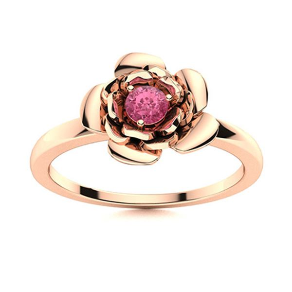 Natural 0.11 CTW Tourmaline Solitaire Ring 14K Rose Gold