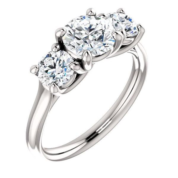 Natural 1.52 CTW 3-Stone Round Cut Diamond Engagement Ring 14KT White Gold