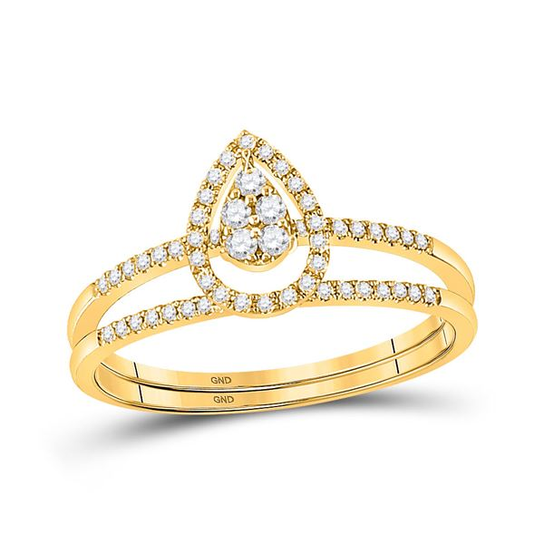 14kt Yellow Gold Round Diamond Bridal Wedding Ring Band Set 1/5 Cttw