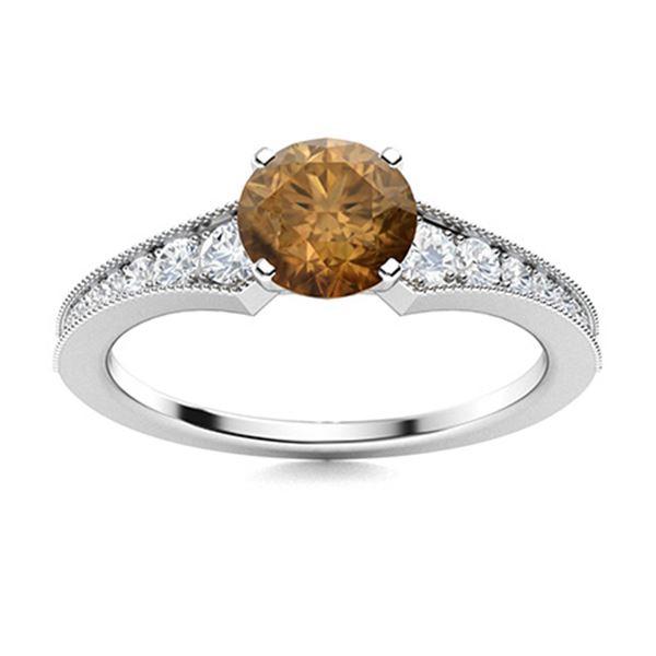 Natural 1.51 CTW Brown & White Diamond Engagement Ring 18K White Gold