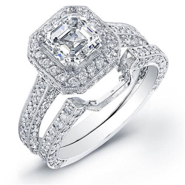 Natural 2.62 CTW Asscher Cut Halo Diamond Engagement Ring 18KT White Gold