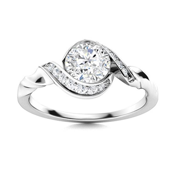 Natural 1.15 CTW Diamond Solitaire Ring 18K White Gold