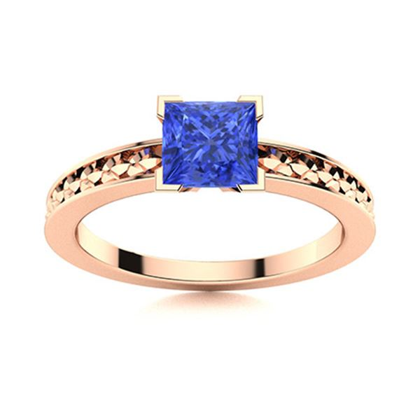 Natural 0.87 CTW Ceylon Sapphire Solitaire Ring 18K Rose Gold