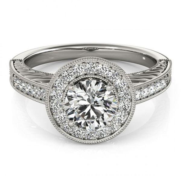 Natural 1.07 ctw Diamond Halo Ring 14k White Gold