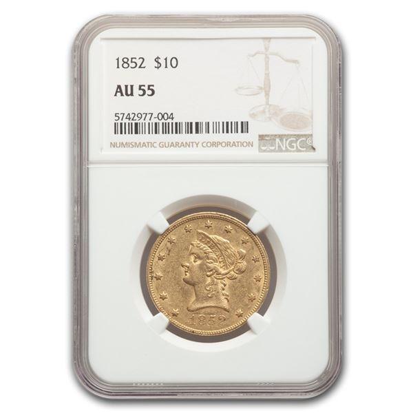 1852 $10 Liberty Gold Eagle AU-55 NGC
