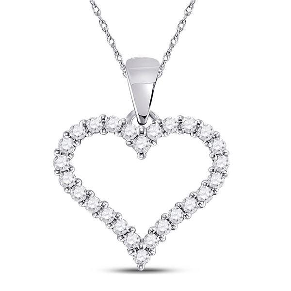 14kt White Gold Womens Round Diamond Outline Heart Pendant 1/4 Cttw