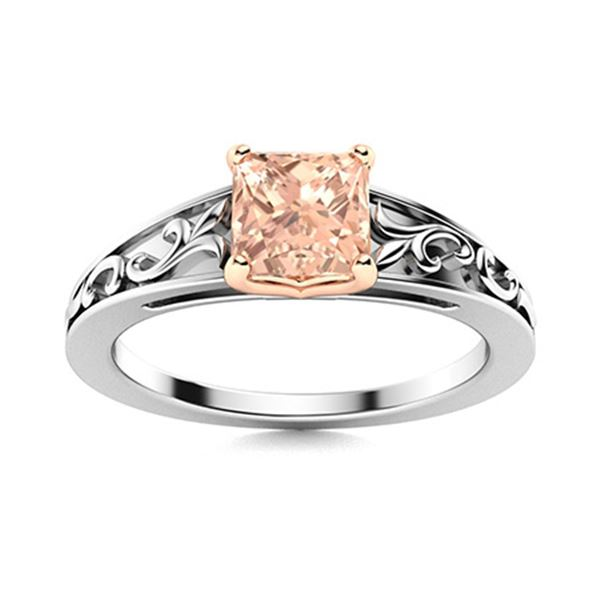 Natural 0.52 CTW Morganite Solitaire Ring 18K White Gold